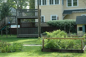 Backyard play structures and vegetable garden pens.